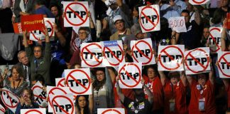Delegates protesting the Trans-Pacific Partnership at the Democratic National Convention in Philadelphia in late July. (Photo: Scott Audette/Reuters)