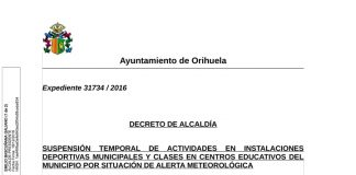 Decreto Alcaldía suspensión instalaciones deportivas y clases centros educativos