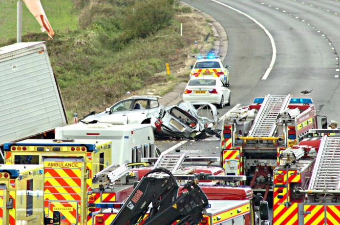 MOTORWAY TRAGEDY: Four dead and others fighting for their lives as lorry ploughs into oncoming traffic on M5 (Photo: Stephen Richards)