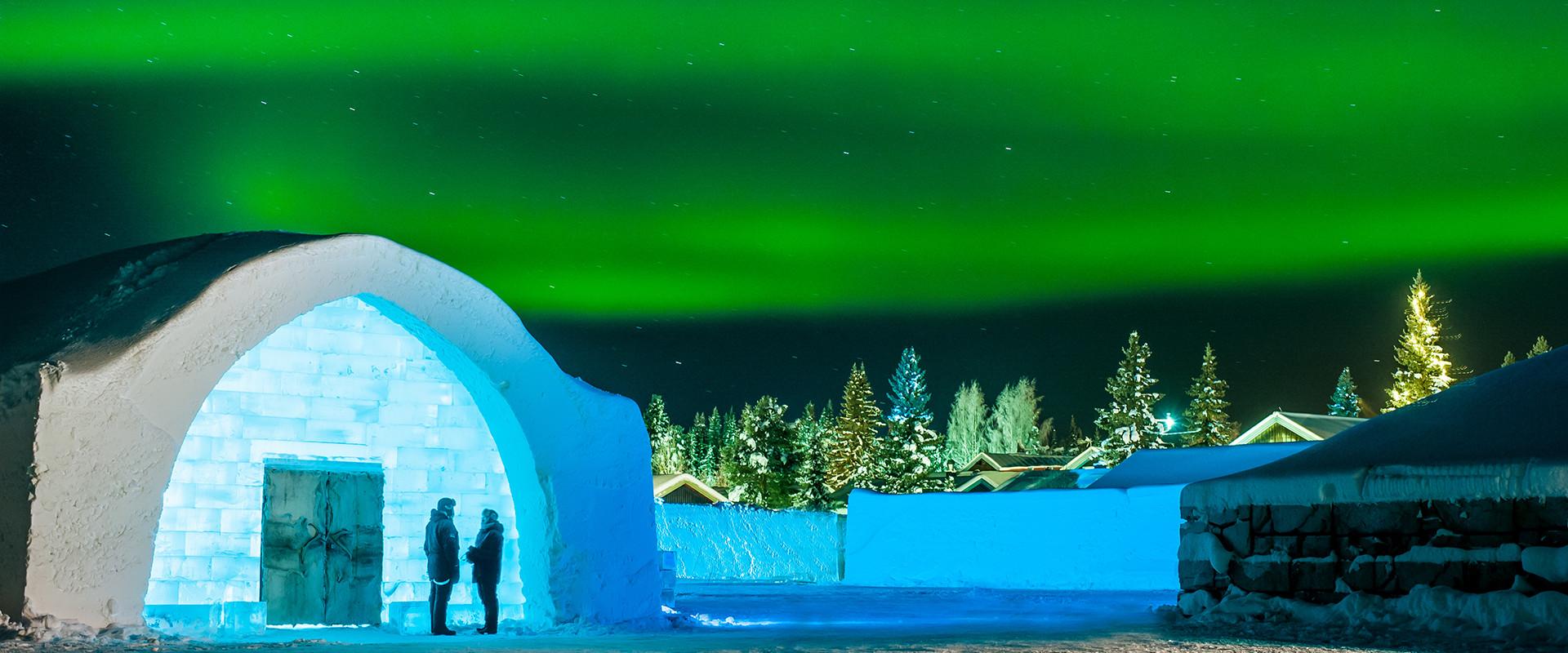 Northern Lights over the Icehotel, Sweden,Yukkasjärvi