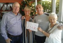 The photo shows from L to R Dave and Rita Monagahan and David and Lorraine Whitney