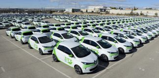 500 Renault Zoe on streets of Madrid with ZITY car sharing scheme