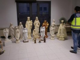 Religious statues recovered from Vega Baja cemeteries