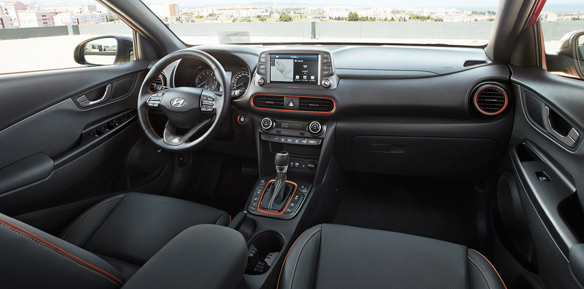 The interior of the all-new Hyundai Kona is sleek, compact, and beautifully designed