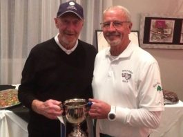 Bryan Hirst presents the Yorkshire Cup to winner Ted Harris