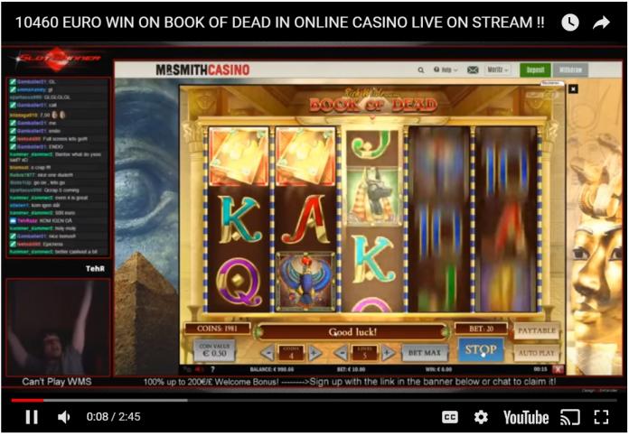 10460 Euro win on Book of Dead in online casino live on stream