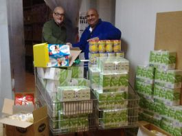 Local Freemason's from Caledonia Lodge donate food.