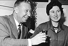 George Formby and Pat Howson on their engagement, February 14, 1961.