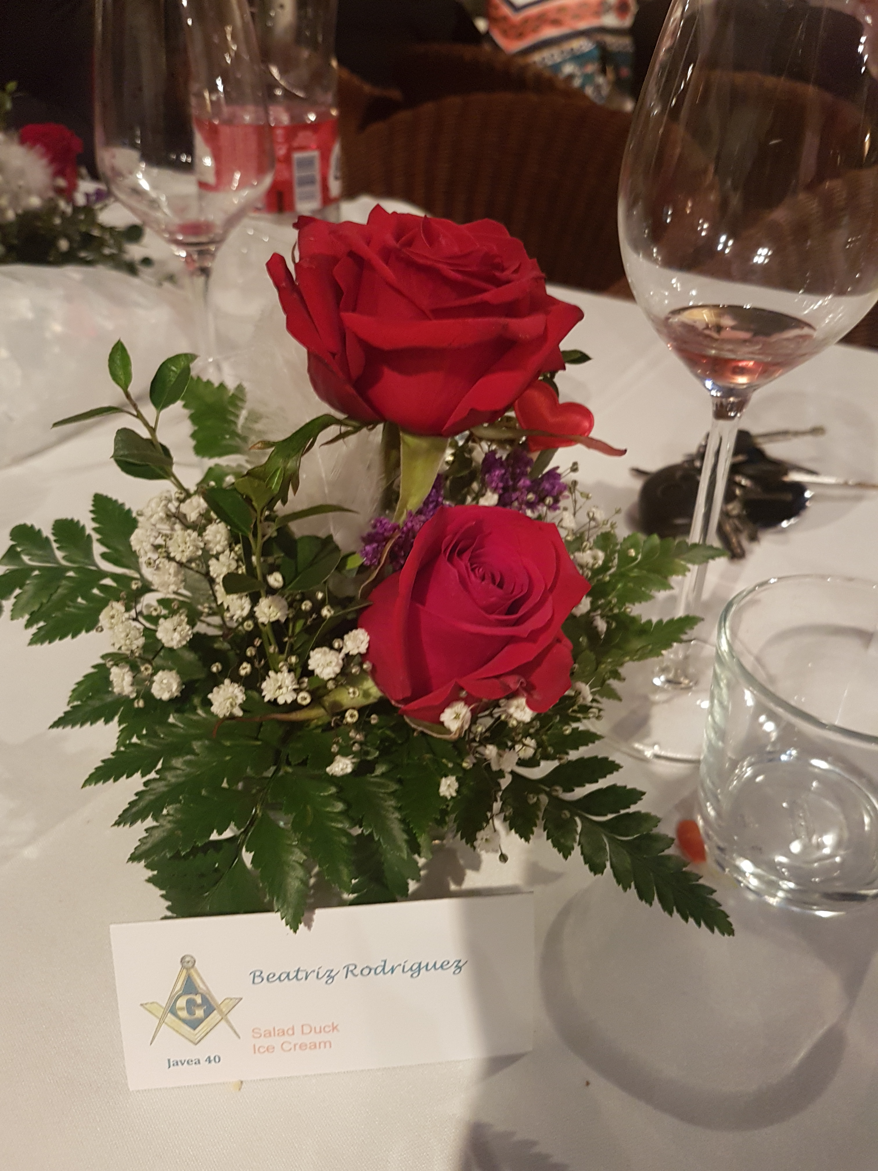 Worshipful Master, WBro Matthew James, presented each lady with two red roses.