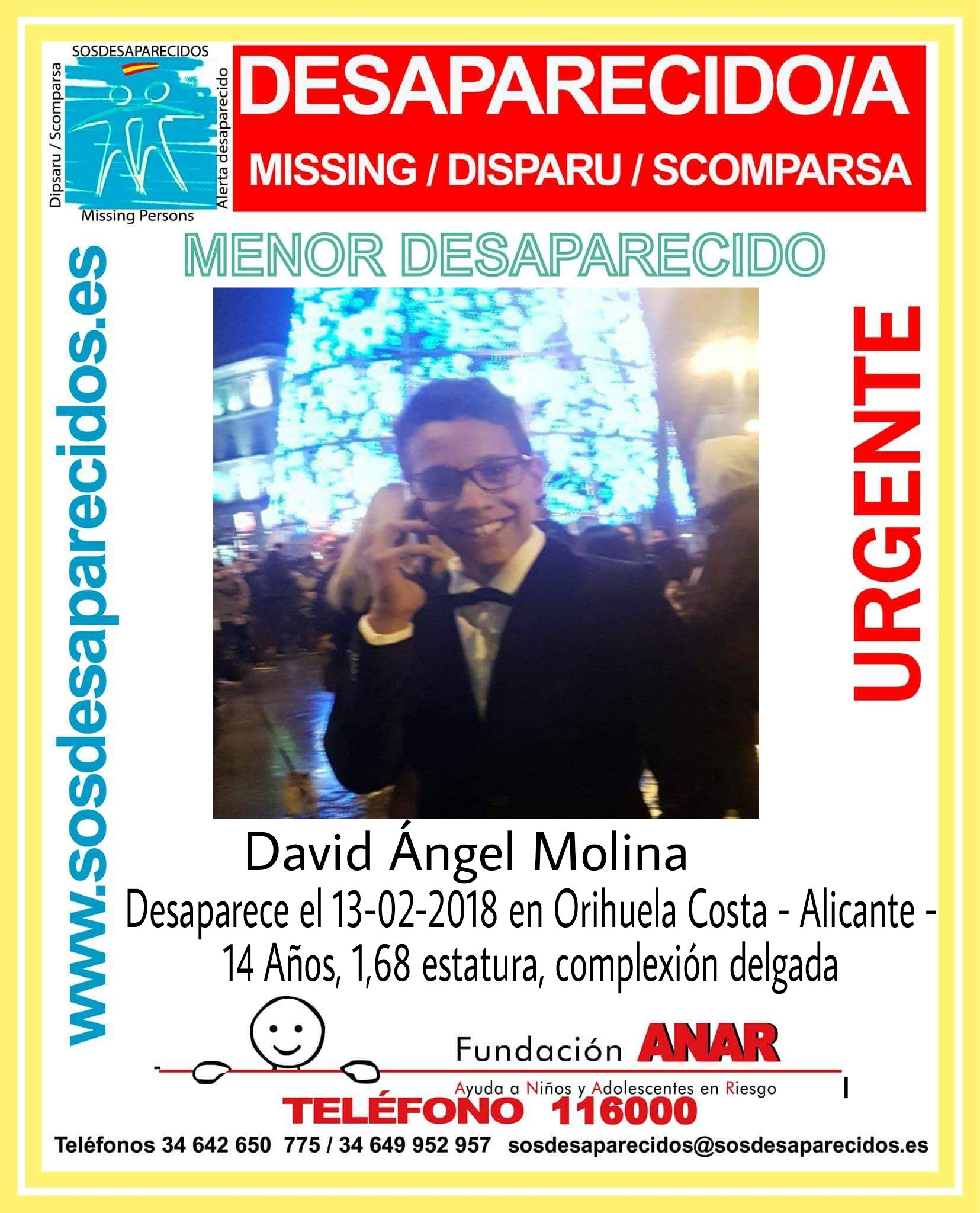 14 year old boy Missing on the Orihuela Costa
