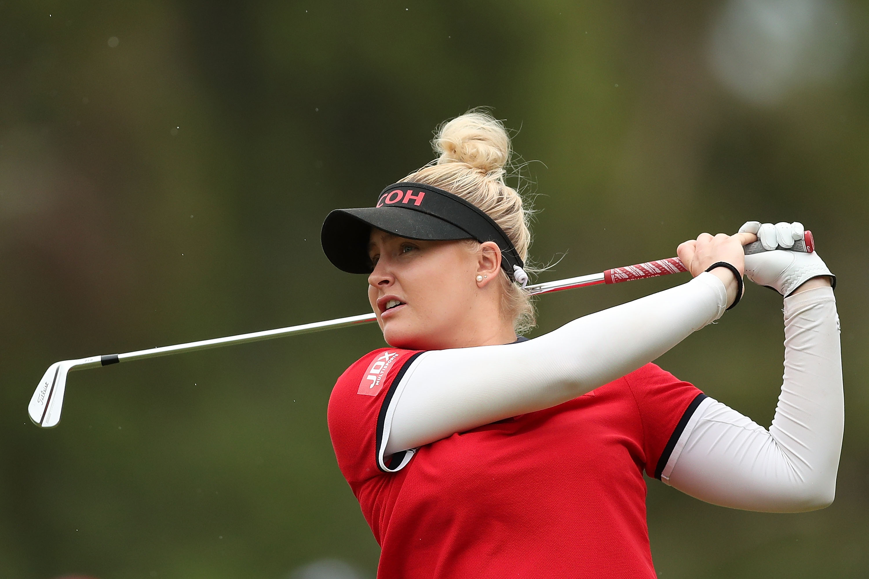 ADELAIDE, AUSTRALIA - FEBRUARY 18:  Charley Hull of England plays her second shot on the 1st hole during day four of the ISPS Handa Australian Women's Open at Kooyonga Golf Club on February 18, 2018 in Adelaide, Australia.  (Photo by Mark Metcalfe/Getty Images)