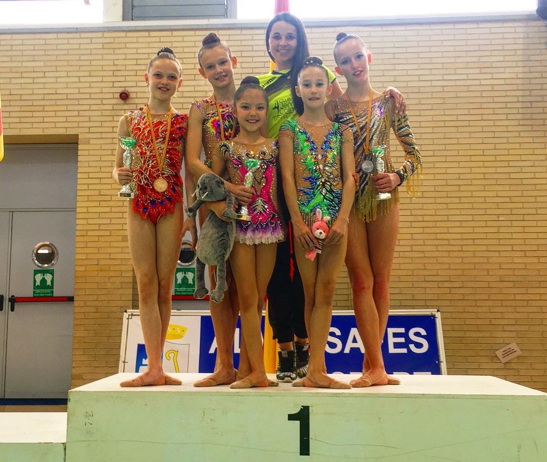 Three medals for the Jennifer Colino Rhythmic Gymnastics Club