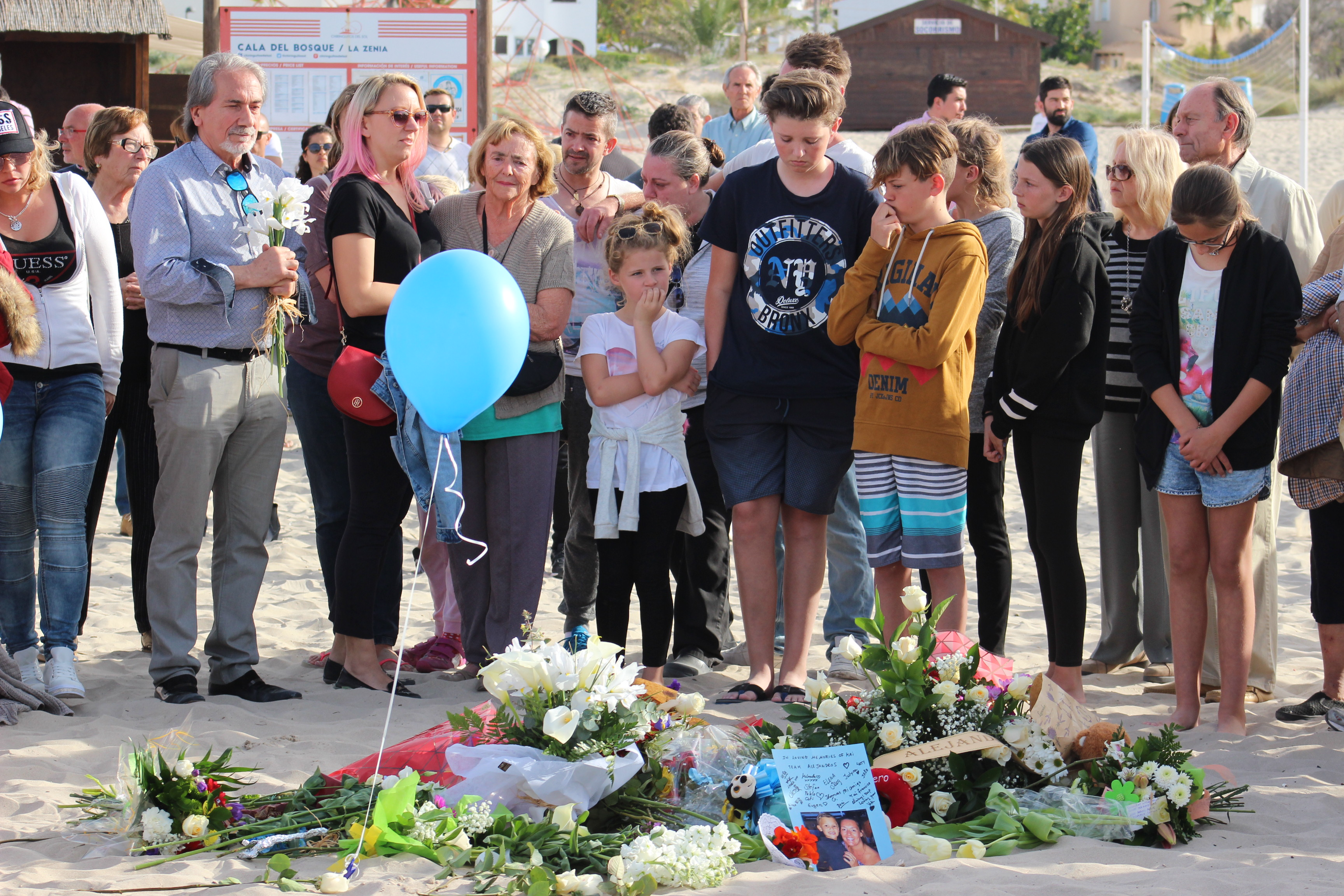 Tributes paid to 9 year old Kai on La Zenia Beach