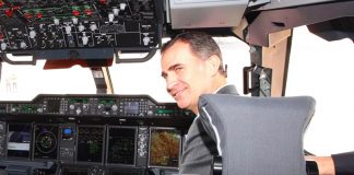King Felipe is no stranger to flight decks himself having graduated as a pilot in the Air Force academy