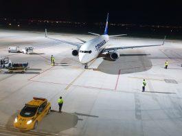 A Ryanair aircraft arriving at Murcia International Airport last week