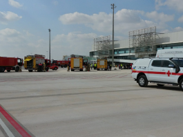 On Wednesday the authorities carried out a mock air accident at the airport
