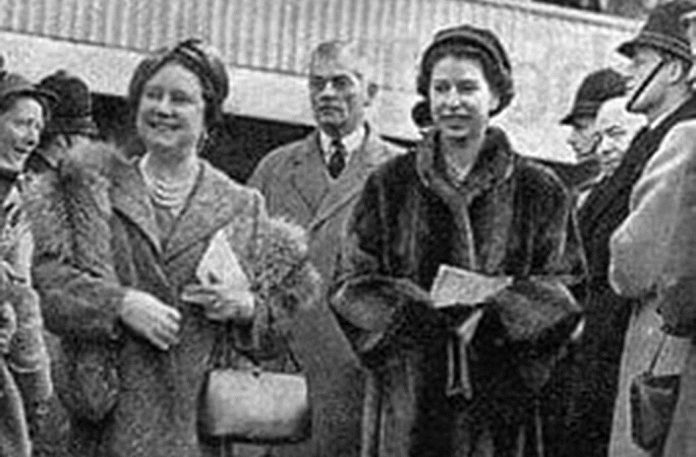 The Late Queen Mother and The Queen, Patron of the jockey club, at Cheltenham in 1956.