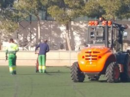Work gets underway at the municipal stadium in Los Montesinos, Alicante, to replace the astro turf. Photo: Helen Atkinson.