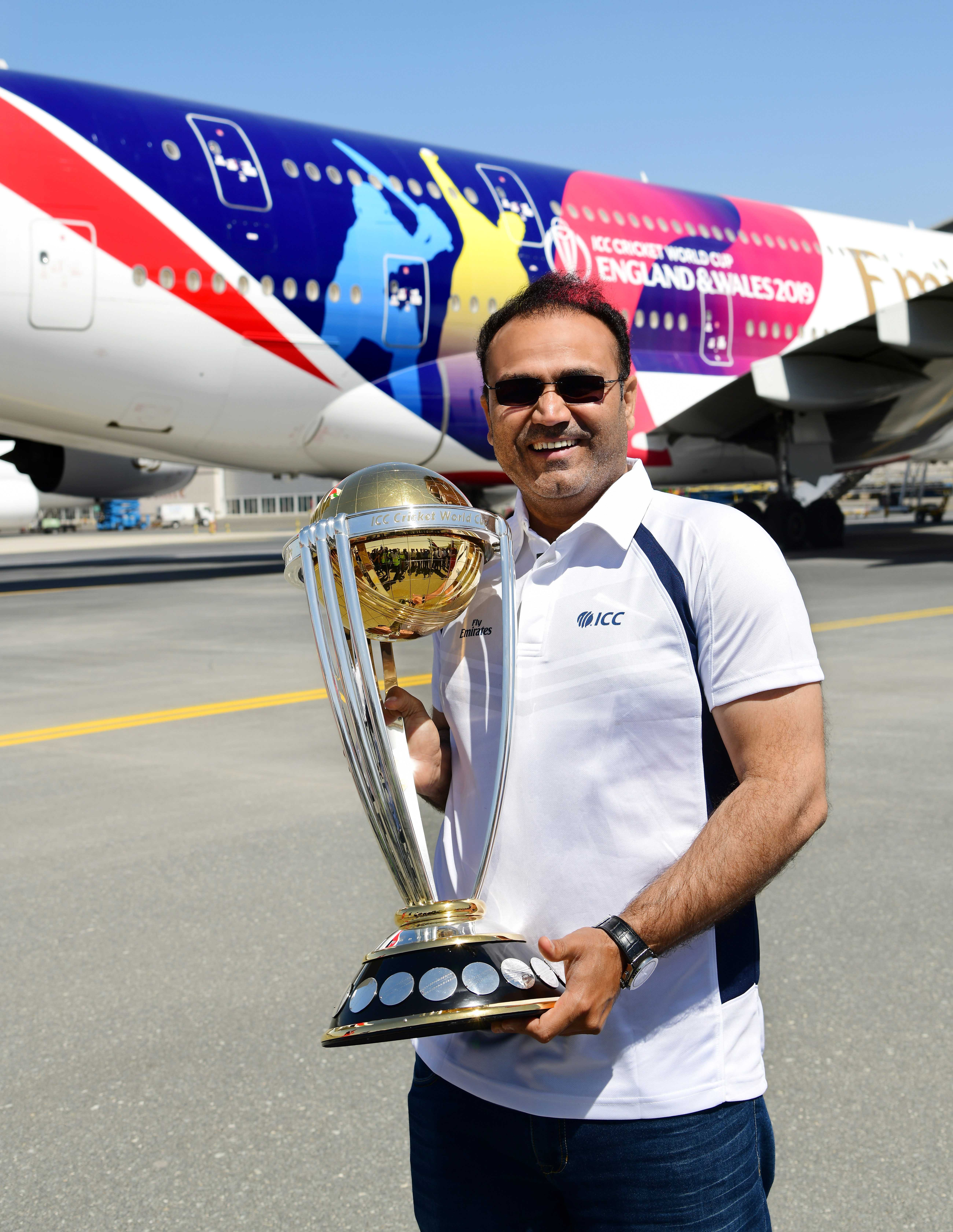 ICC Men's Cricket World Cup 2011 winner, Virender Sehwag with the trophy.