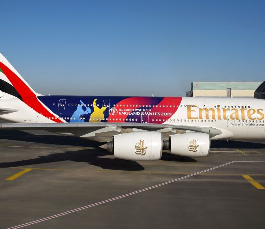 ICC Men's Cricket World Cup 2019 decal on the Emirates A380.