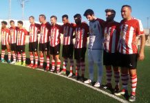 CD Montesinos and Hondon Nieves stand in a one minutes silence before kick off. Photos: Andrew Atkinson.