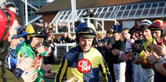 Jockey Noel Fehily, 43, ended his career with a win on Get In The Queue at Newbury.