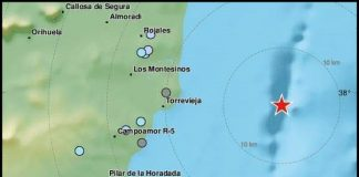 Sunday afternoon earthquake east of Torrevieja