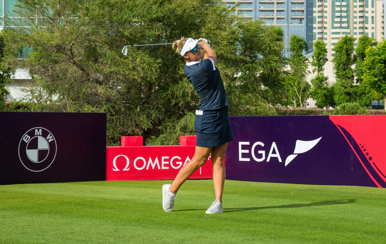 Amy Boulden during a practice round. Ladies European Tour 2019. Omega Dubai Ladies Classic, Emirates Golf Club, Faldo Course, Dubai, UAE. 1-3 May 2019. Amy Boulden during a practice round. Credit: Tristan Jones