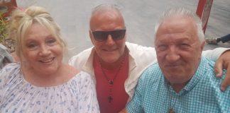 Norma and Esteban Fernandez with reporter Andrew Atkinson (centre) in Los Montesinos.