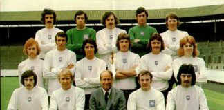 Mel Holden, front row far right, with Bobby Charlton (centre) at Preston in the 1973-74 season.