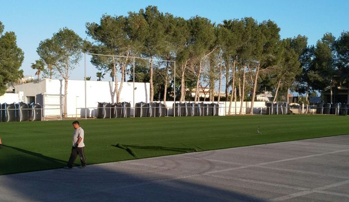 CD Montesinos's new pitch turf being laid in preparation for the 2019-20 season. Photo: Graeme Jolly.