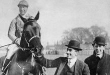 The photo shows Ernie Piggott on board the 1919 Aintree Grand National winner Poethlyn.