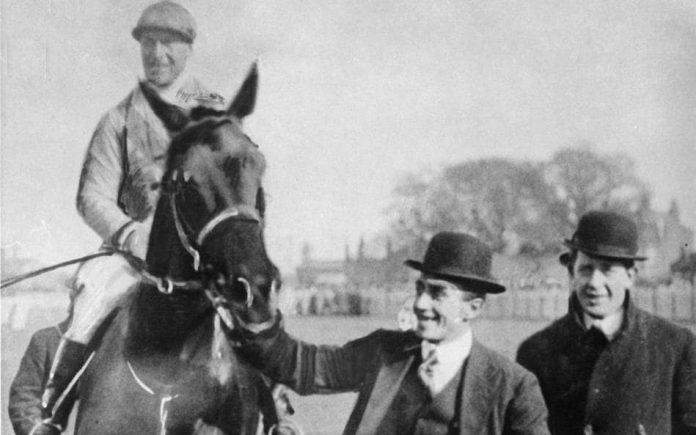 The photo shows Ernie Piggott on board the 1919 Aintree Grand National winner Poethlyn.