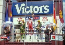 Fogarty at the winner's podium in Albacete in 1993.
