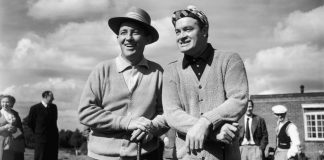 FOR LAUGHS ON THE LINKS and titters on the tee: two of the best in the business: Bing and Bob.