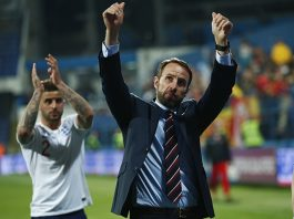 England's Gareth Southgate applauds the travelling Three Lions support in Montenegro