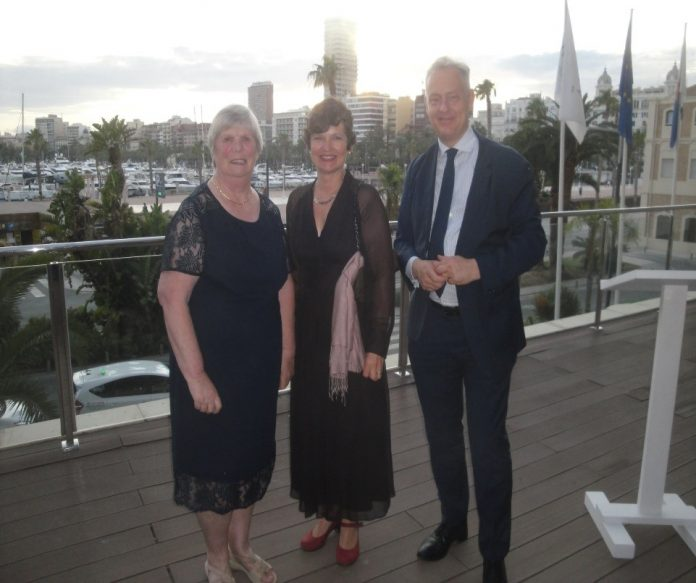 HELP´s President Christine Baillie pictured with the British Ambassador Simon Manley and Madrid Consulate worker Zoe.
