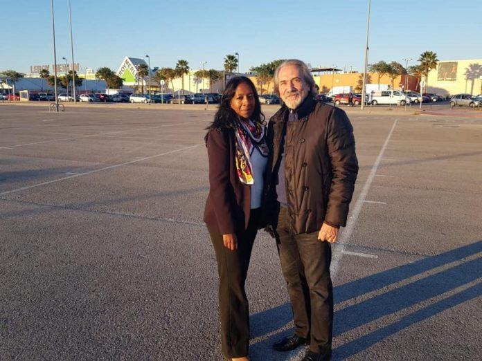 Helene with the President of La Zenia Citizens Movement Felix Arenas