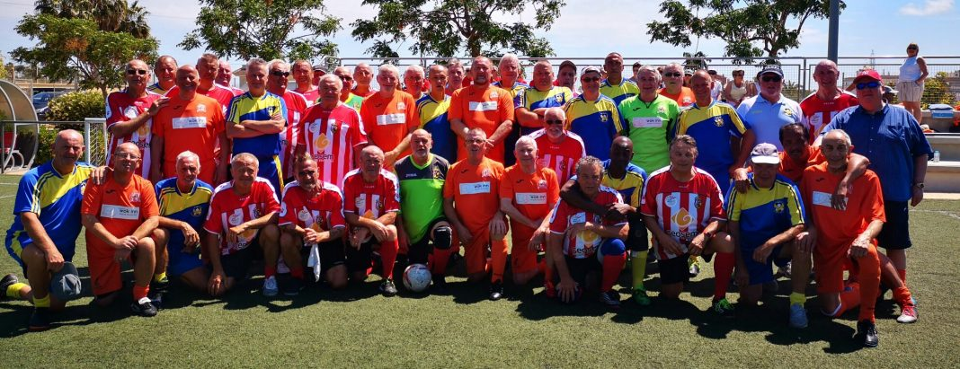 The 2019 Los Montesinos walking football tournament teams, Monte Mentals A and B, AFC Blackpool senior Seasiders, Hondon and Entre Naranjos.