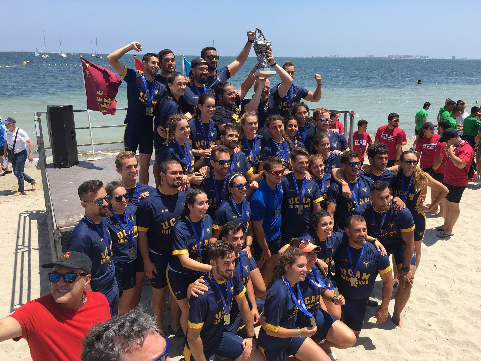 San Antonio Catholic University UCAM celebrate winning the XX edition of the Inter Universities Regatta.