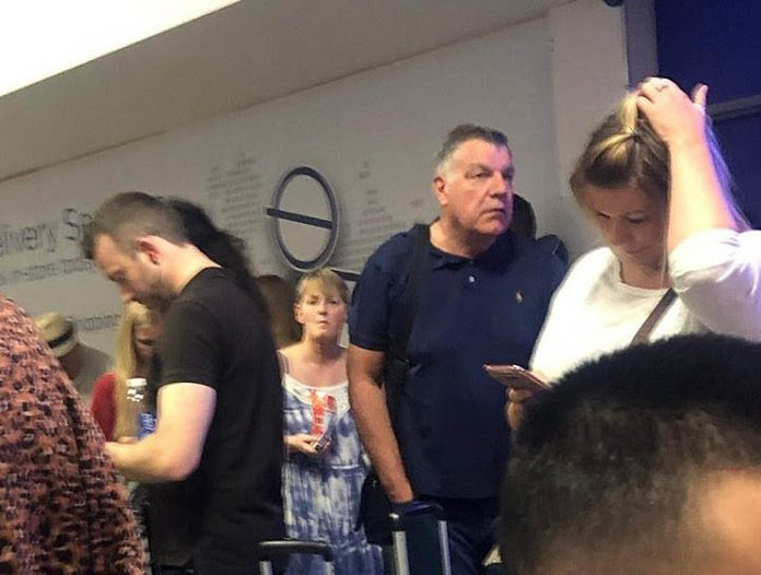 Sam Allardyce - caught up in Manchester airports IT failure on Saturday.