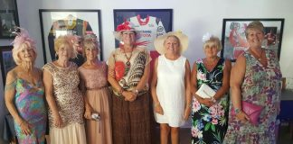 *Royal Ascot Best Dressed Ladies Day outfit line-up at Silverstones, with winner Josephine McCourt (third left).