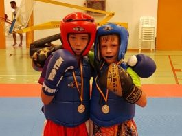 Quesada Fitness Gym kick boxing duo Curtis Yeates and Jamie Long - medal winners at the Valencian Championships.