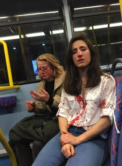 Ryanair stewardess and girlfriend beaten on London bus because they would not kiss for gang of yobs
