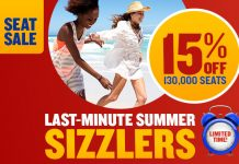 Ryanair launches last-minute summer sizzlers with 15% off 130.000 seats