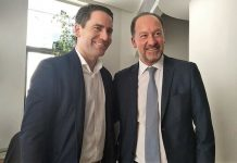 PP Deputy Leader Teodoro García Egea with Emilio Bascuñana