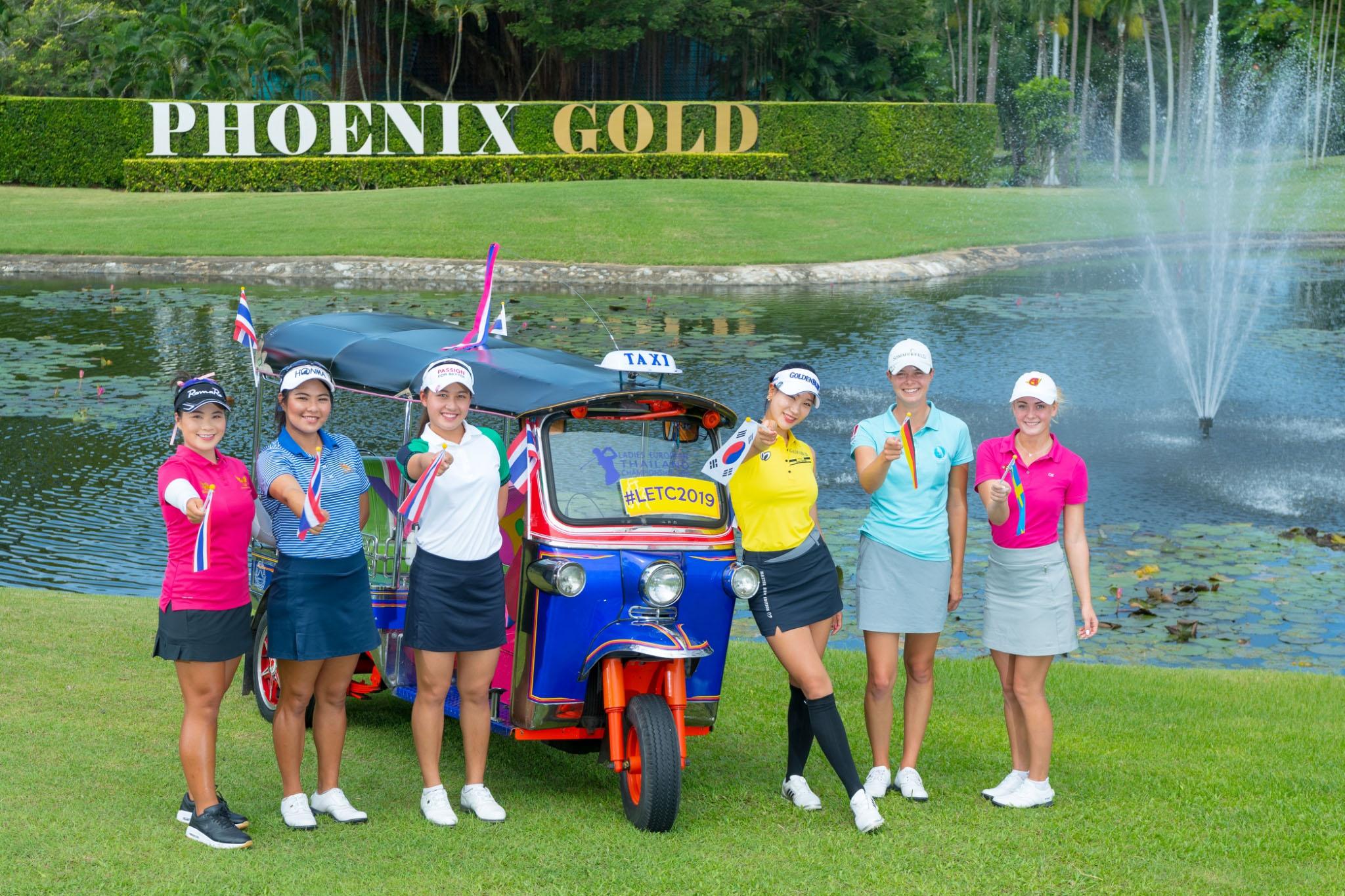 Caption (L to R): Defending champion Kanyalak Preedasuttijit, Chonlada Chayanun, Atthaya Thitikul, Hyun Ju Yoo, Esther Henseleit and Julia Engstrom at a photocall at Phoenix Gold Golf & Country Club on Tuesday.