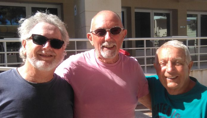 Photo, left to right. Rob Peck and Ian Sinclair, Mistral. Norman Vener, Radial.