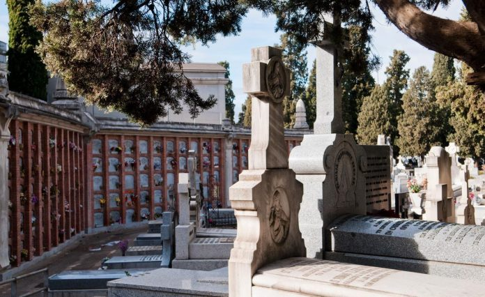 A memorial is at the cemetery of La Almudena,