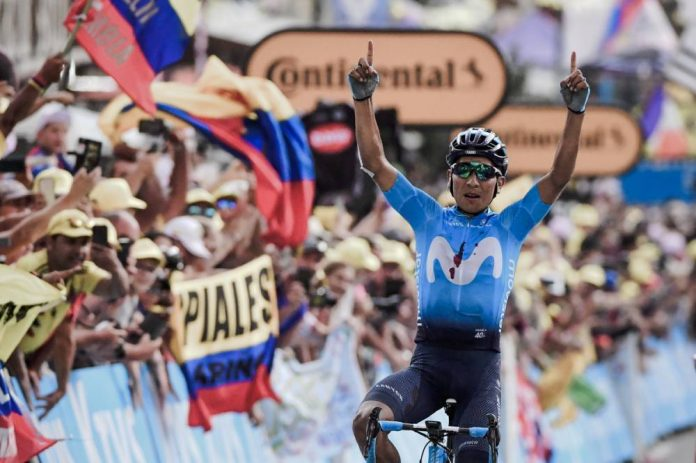 Quintana cycling to victory in stage 18 of the tour de France - Image www.letour.fr/